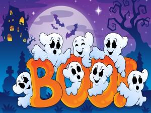 Fantasmas dando sustos en la noche de Halloween