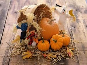 Calabazas y muñecas de trapo para Halloween