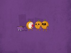 Tres simpáticas calabazas en Halloween