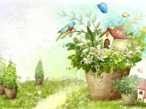 Casa en una maceta rodeada de aves
