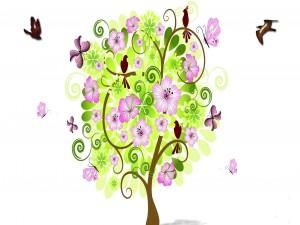 Árbol en primavera rodeado de pájaros y mariposas