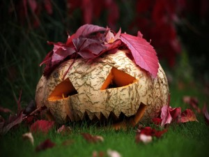 Hojas caídas sobre una calabaza para Halloween