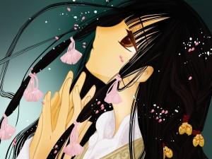 Chica anime con cintas rosas en el pelo