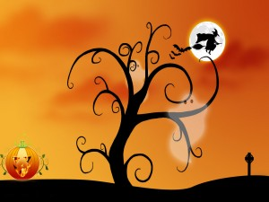 Bruja en la noche de Halloween
