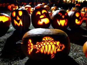 Calabazas talladas en la noche de Halloween