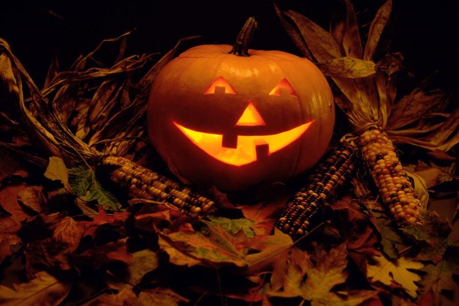 Calabaza de Halloween sobre hojas otoñales