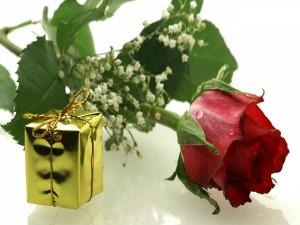 Una rosa y un regalo para San Valentín