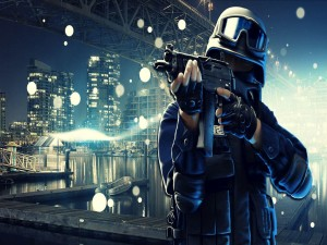 Soldado sosteniendo un arma