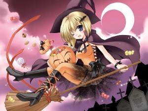 Una bruja anime en la noche de Halloween