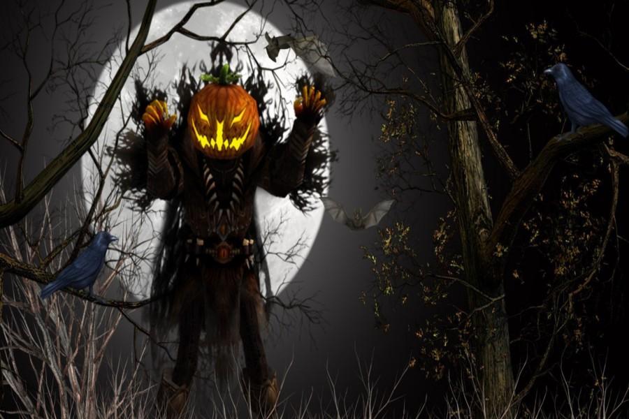 Fantasma en el bosque entre cuervos y murciélagos