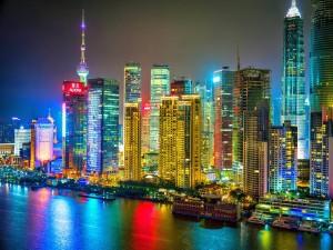 Brillante noche en Shanghai