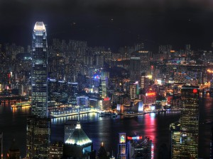 Vista de la noche de Pekín, China