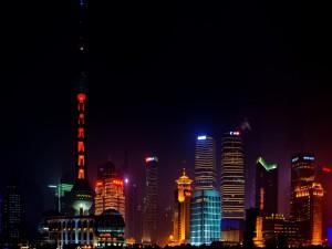 Noche en Shanghai (China)