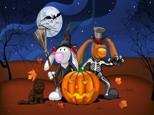 Dos conejos y un gato a punto de celebrar Halloween