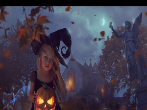 Niña vestida de bruja con una calabaza en sus manos