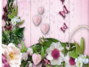 Fondo rosado con flores y mariposas