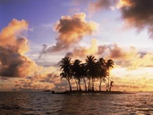 Isla vista al amanecer