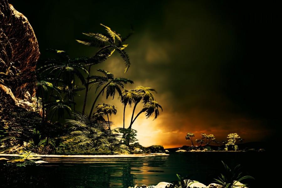 Noche tropical en el océano