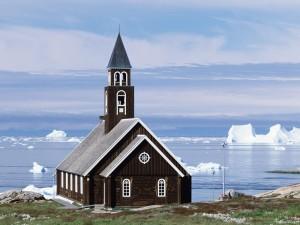 Iglesia en un frío paisaje
