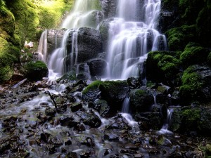 Cascada mojando las piedras