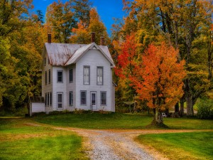 Casa rodeada de árboles en otoño