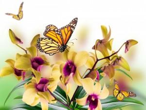 Mariposas volando sobre unas bellas orquídeas