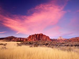Bonito cielo sobre el Parque Nacional Zion (Utah)