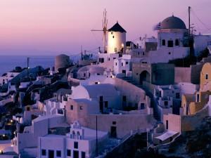 Santorini visto al amanecer (Grecia)