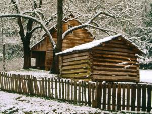 Nieve sobre la cabaña