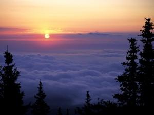 Sol sobre las nubes al amanecer