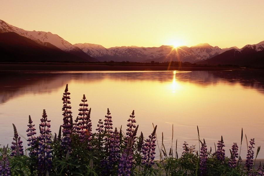 Sol reflejado en el lago