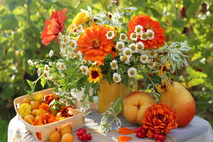 Frutas y flores sobre una mesa de jardín