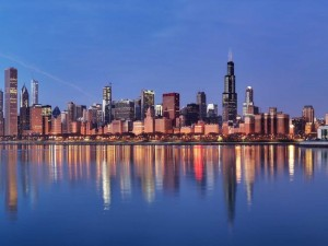 Edificios a orilla del lago Michigan