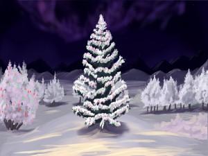 Bonito árbol de Navidad en la nieve