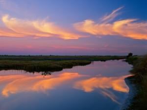 Bonito cielo reflejado en el agua