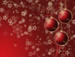 Bolas rojas de Navidad y copos de nieve