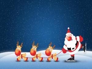 Papá Noel patinando con sus renos