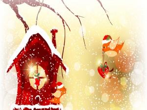 Pajaritos adornando su casa en Navidad