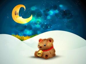 Osito en una noche fría de Navidad