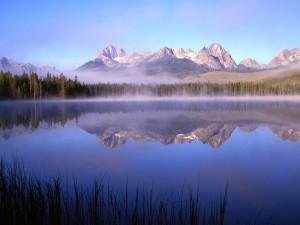 Lago brumoso al pie de las montañas