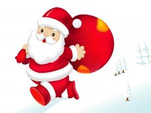 Papá Noel caminando con los regalos