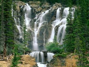Cascadas en el Parque Nacional de Jasper (Canadá)