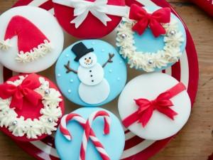 Cupcakes decorados para el día de Navidad