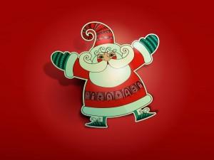 Figura de Papá Noel en fondo rojo
