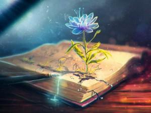 Flor mágica que florece de un libro antiguo