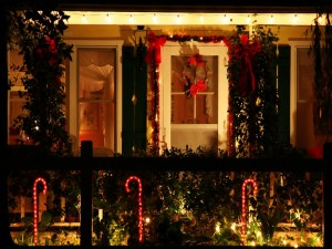 Casa adornada para festejar Navidad