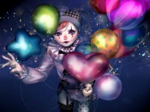 Payaso con globos de colores