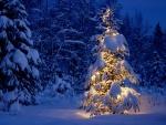 Árbol de Navidad cubierto de nieve