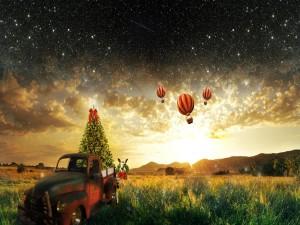 Árbol de Navidad en una vieja camioneta