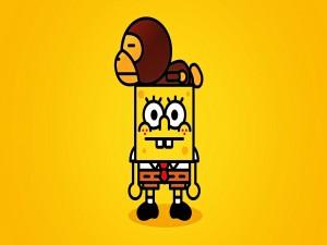 Un mono sobre Bob Esponja